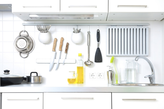 A modern kitchen complete with cooking utensils